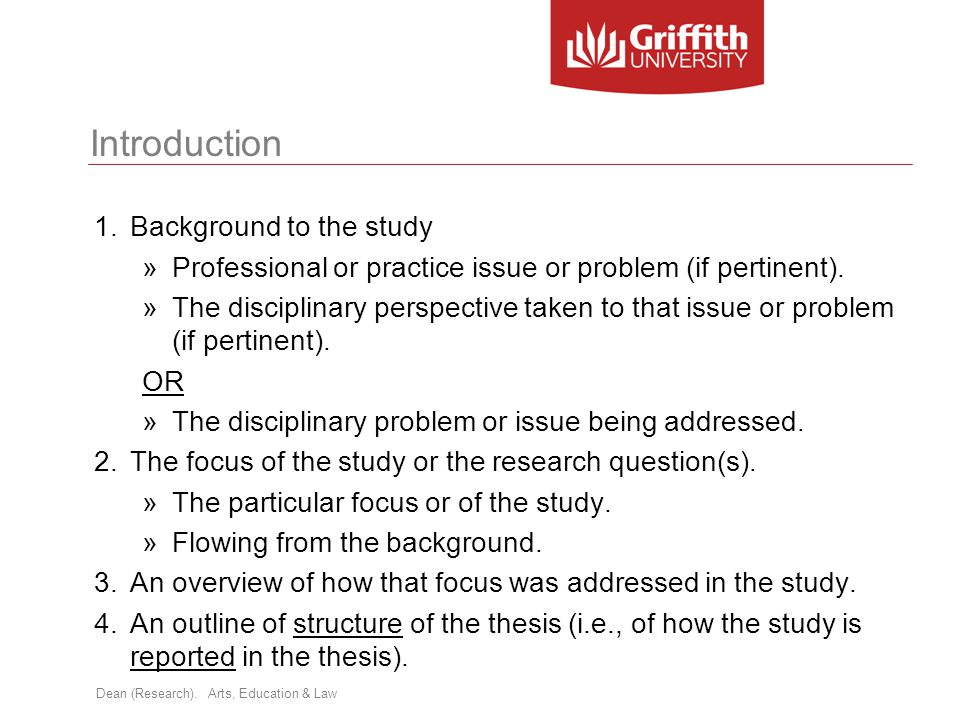 Introduction Background to the study