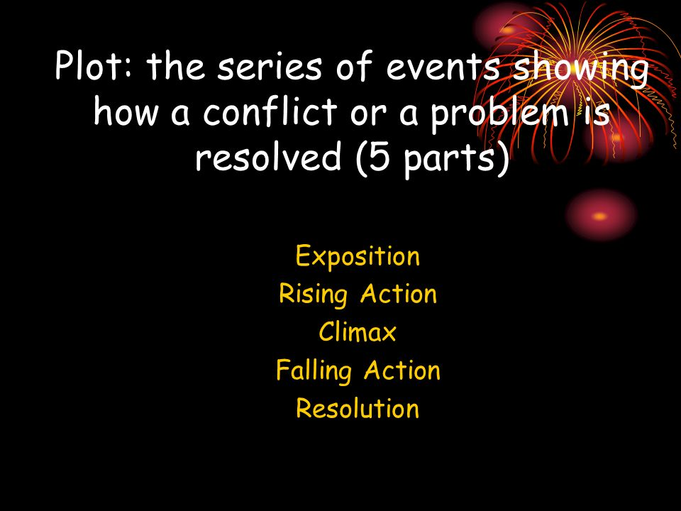 Plot: the series of events showing how a conflict or a problem is resolved (5 parts)