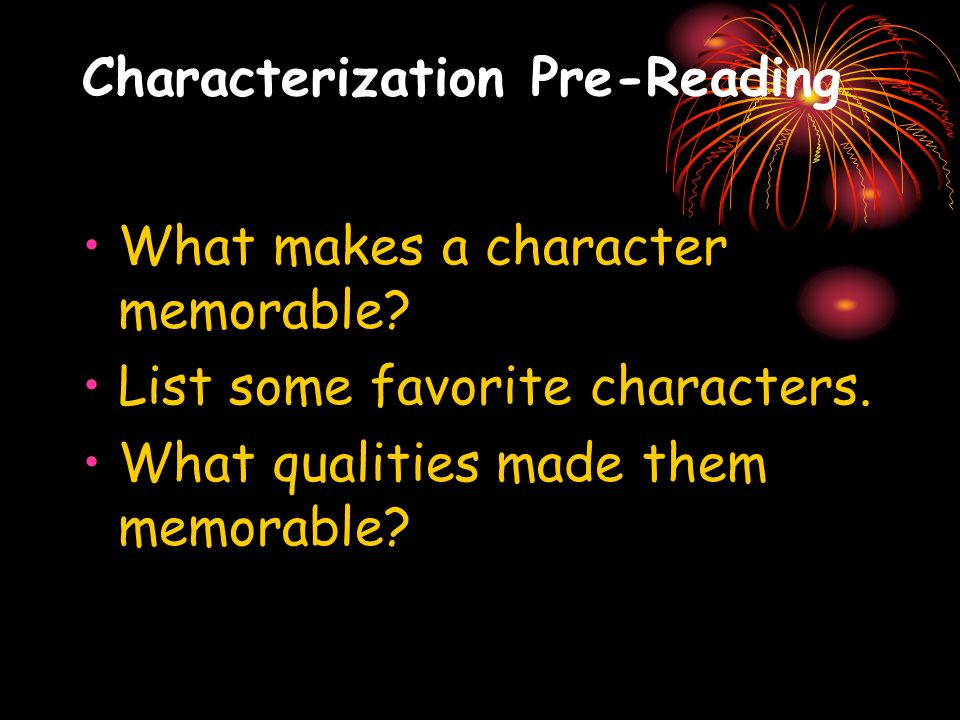 Characterization Pre-Reading