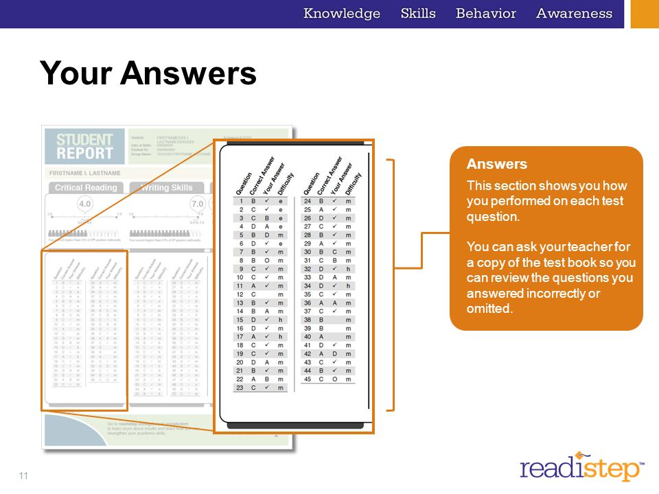 Your Answers Answers. This section shows you how you performed on each test question.