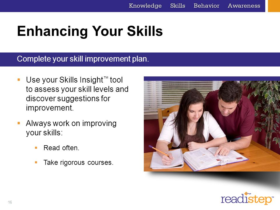 Enhancing Your Skills Complete your skill improvement plan.