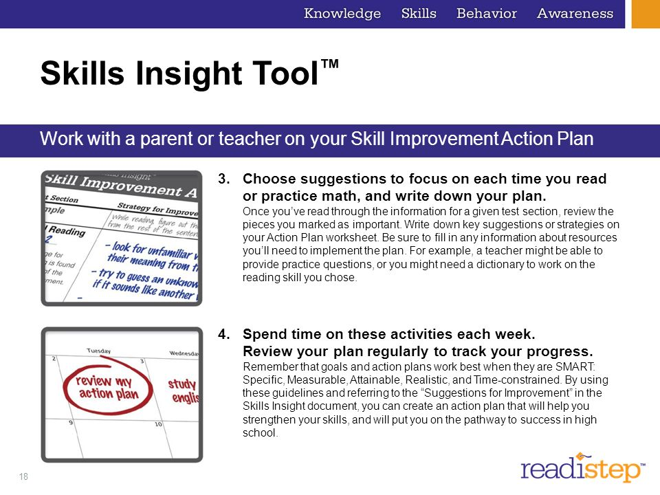 Skills Insight Tool™ Work with a parent or teacher on your Skill Improvement Action Plan.
