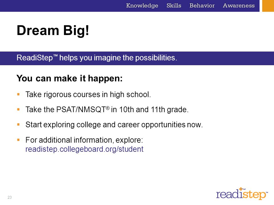 Dream Big! You can make it happen: