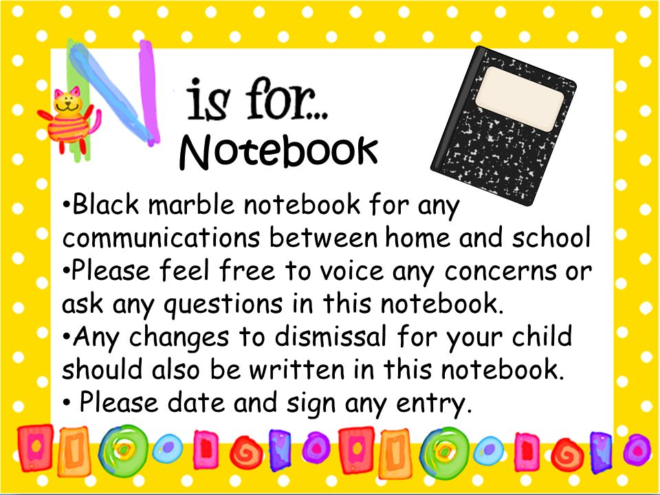 Notebook Black marble notebook for any communications between home and school.