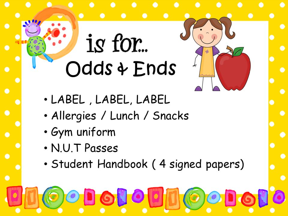 Odds & Ends LABEL , LABEL, LABEL Allergies / Lunch / Snacks
