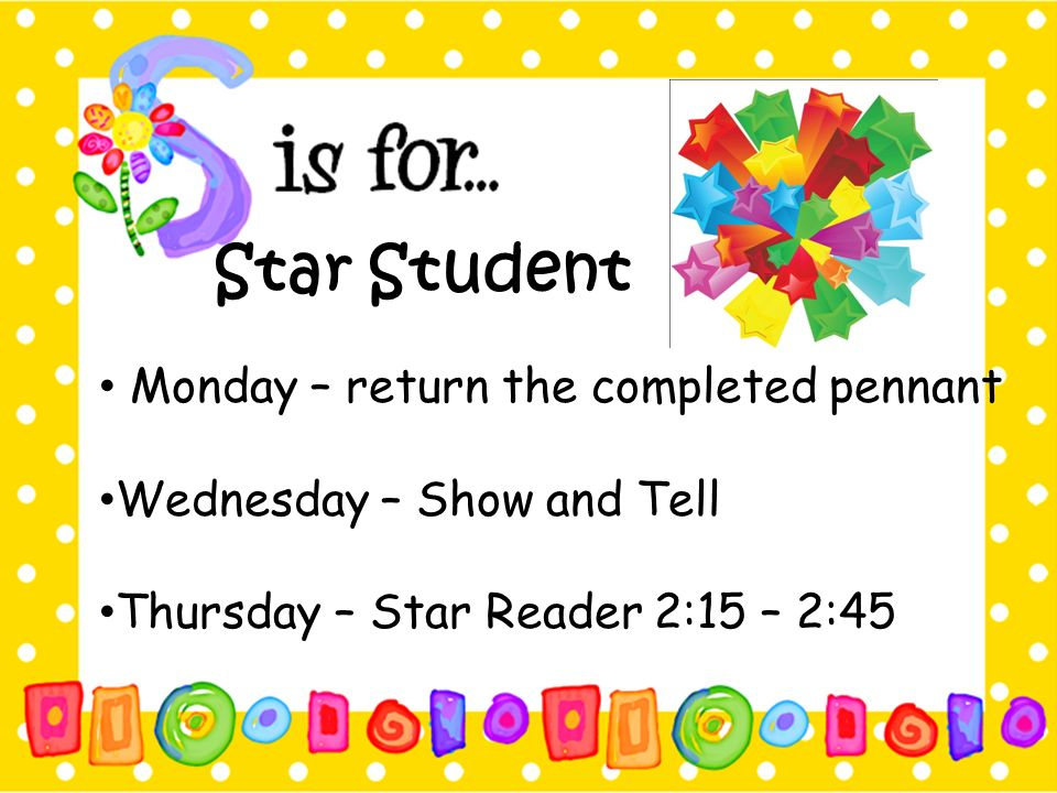 Star Student Monday – return the completed pennant