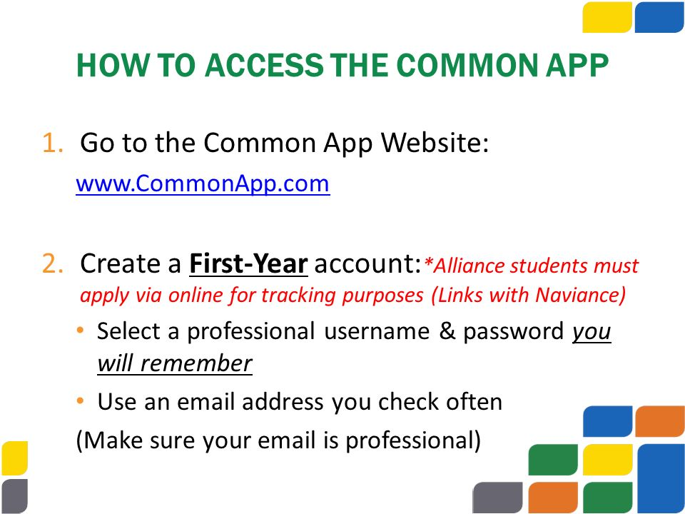 HOW TO ACCESS THE COMMON APP