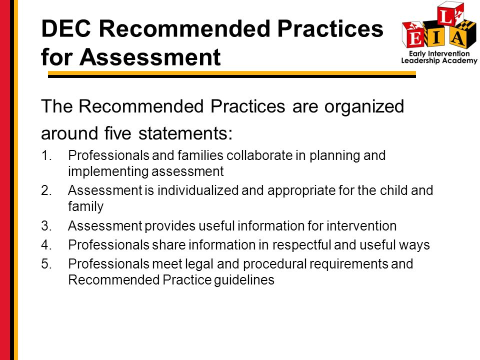 DEC Recommended Practices for Assessment