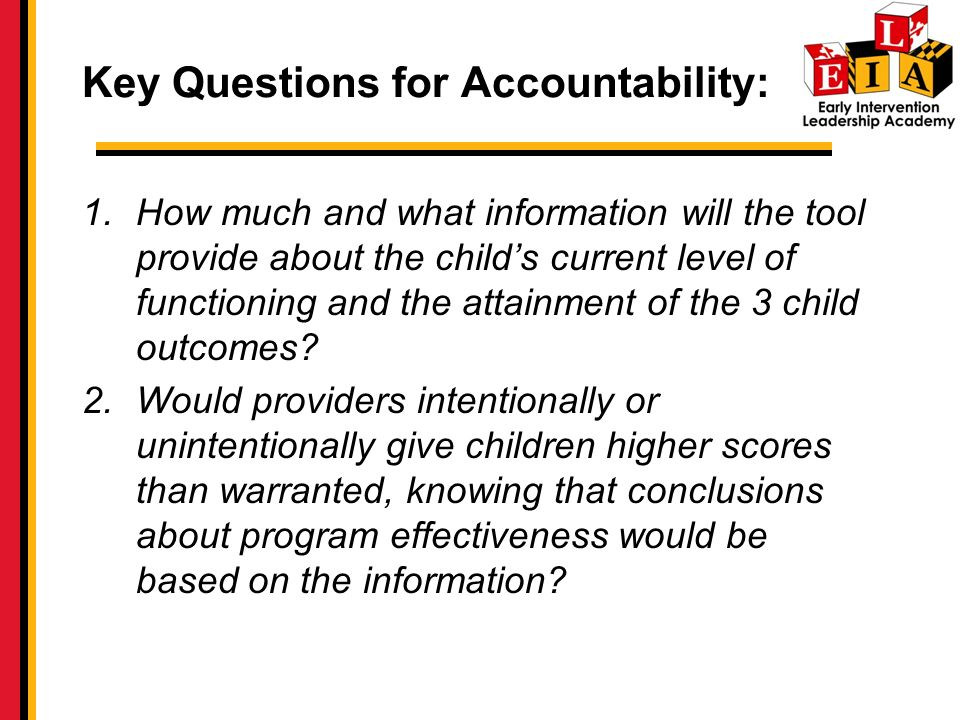 Key Questions for Accountability: