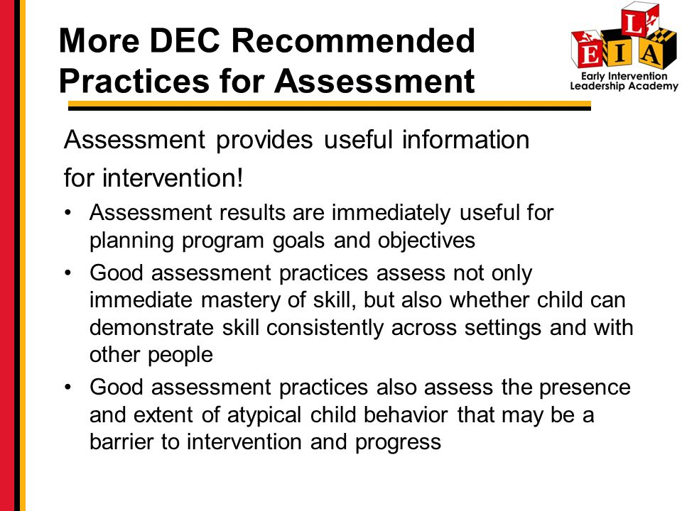 More DEC Recommended Practices for Assessment