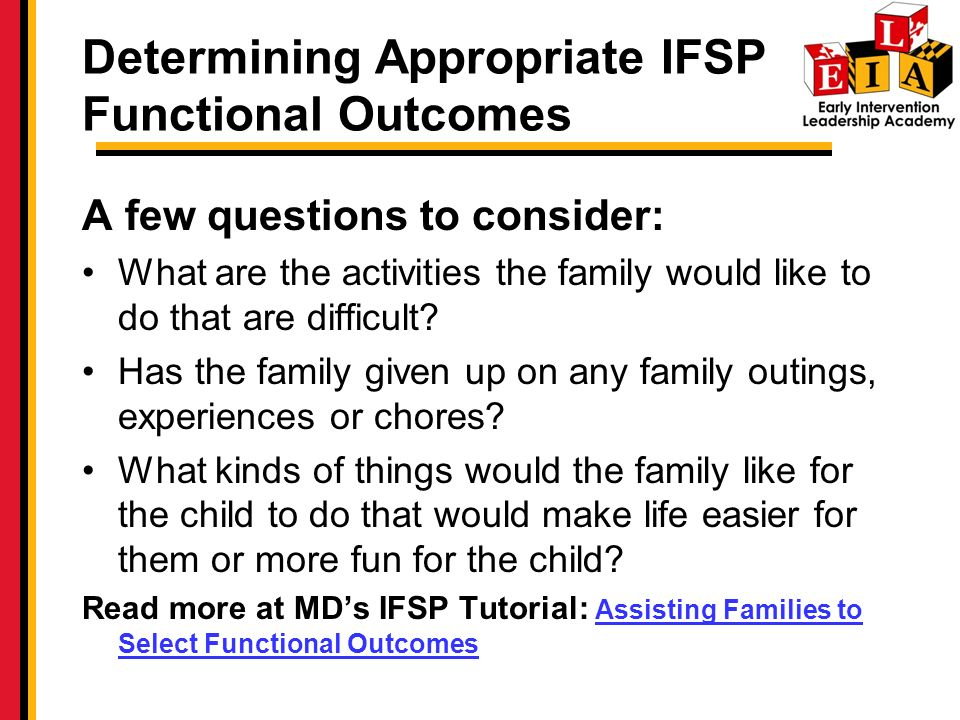 Determining Appropriate IFSP Functional Outcomes