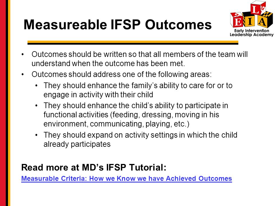 Measureable IFSP Outcomes