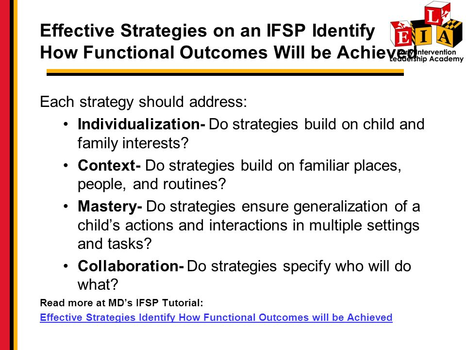 Effective Strategies on an IFSP Identify How Functional Outcomes Will be Achieved