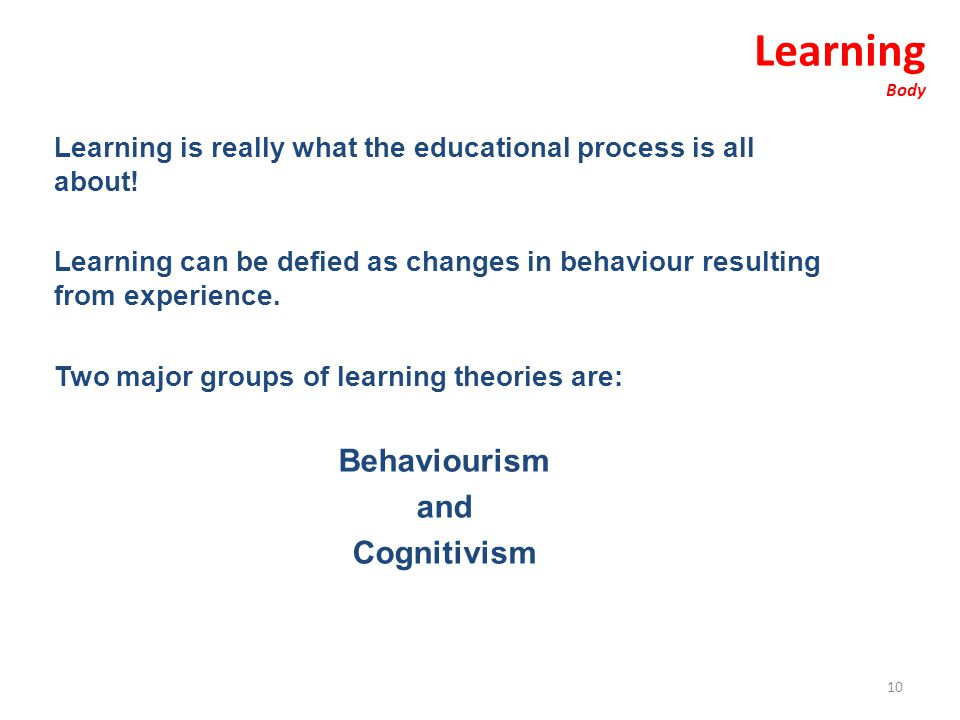Learning Behaviourism and Cognitivism