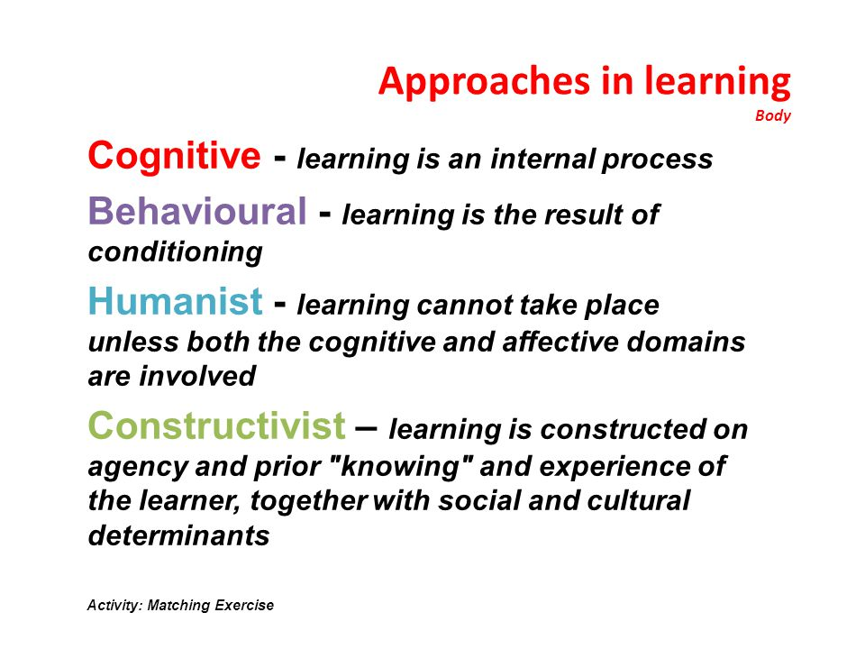 Approaches in learning Body