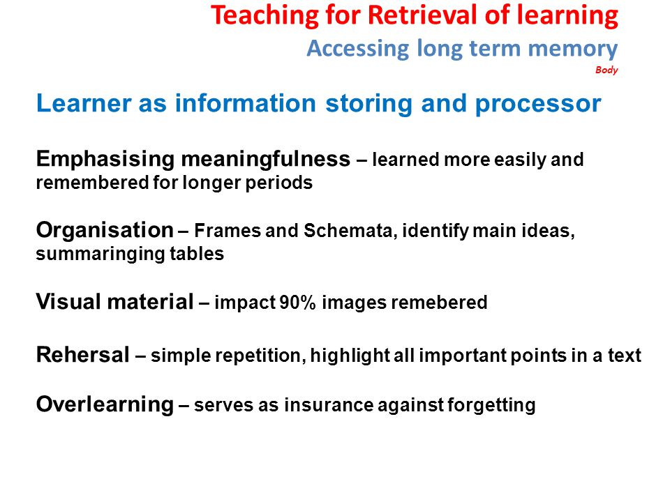Teaching for Retrieval of learning Accessing long term memory Body