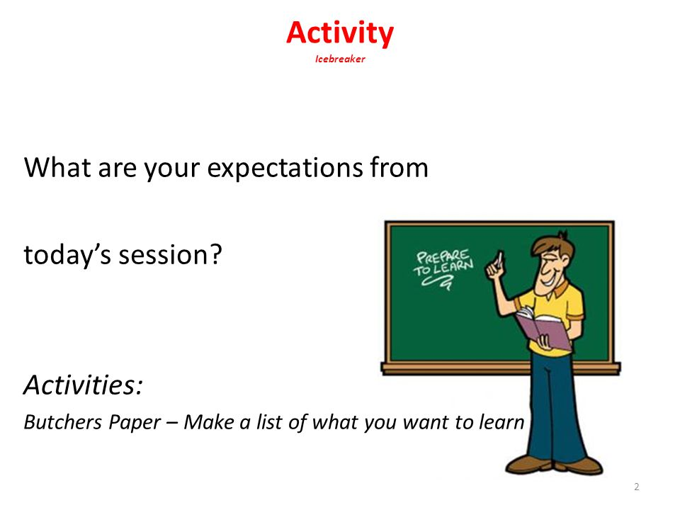 Activity Icebreaker What are your expectations from today's session
