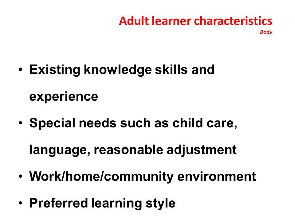 Adult learner characteristics Body