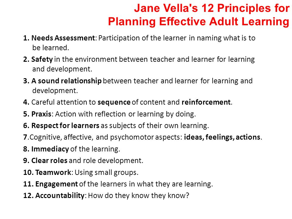 Jane Vella s 12 Principles for Planning Effective Adult Learning