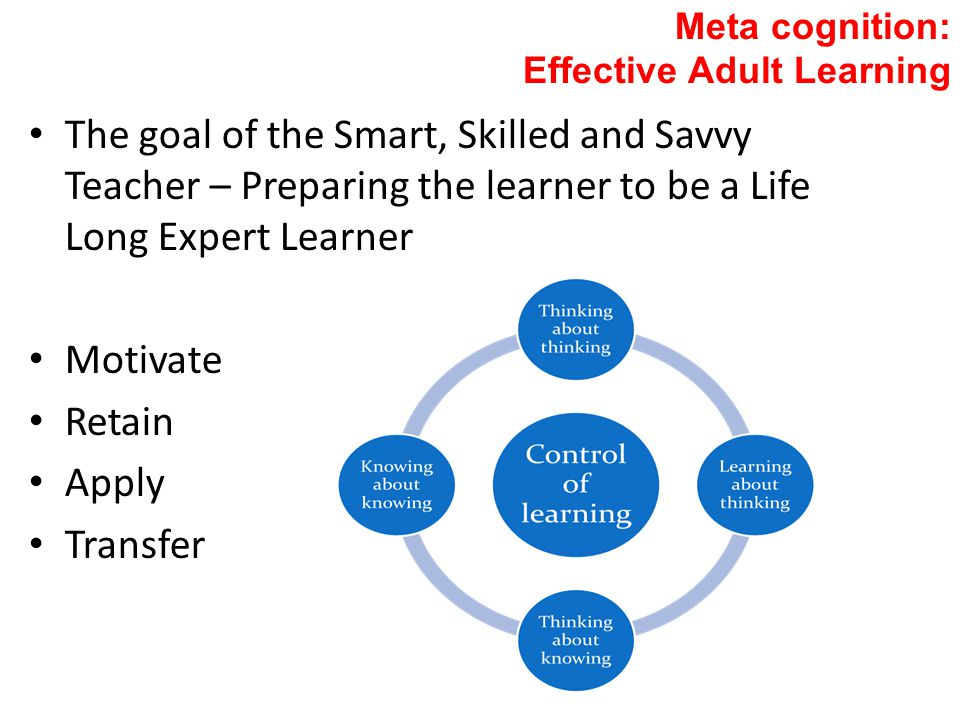 Meta cognition: Effective Adult Learning