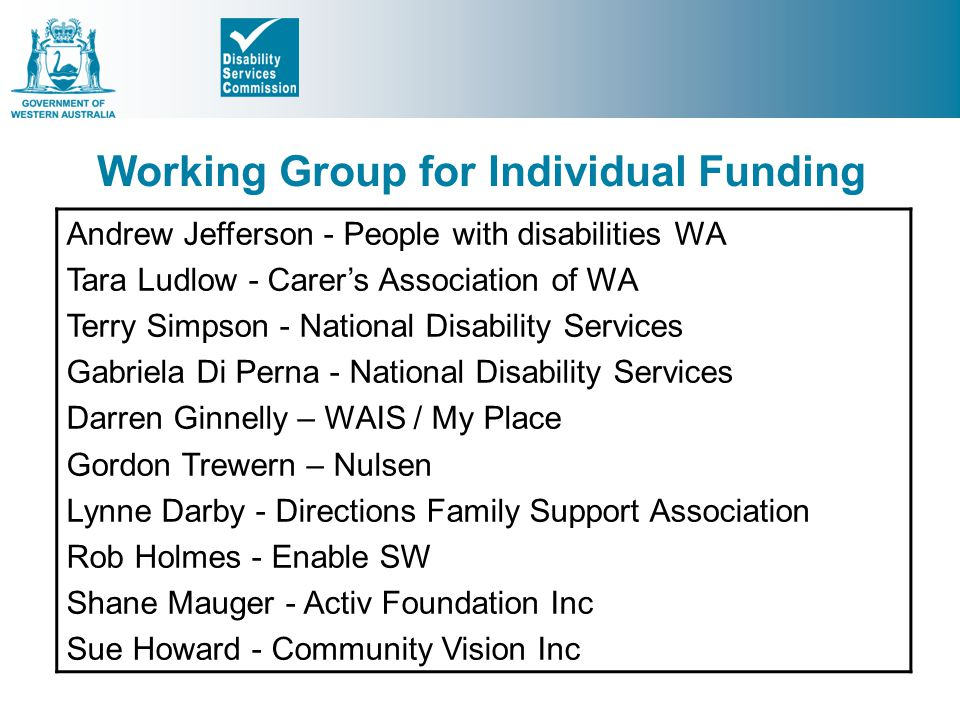 Working Group for Individual Funding