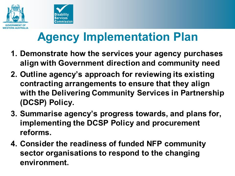 Agency Implementation Plan