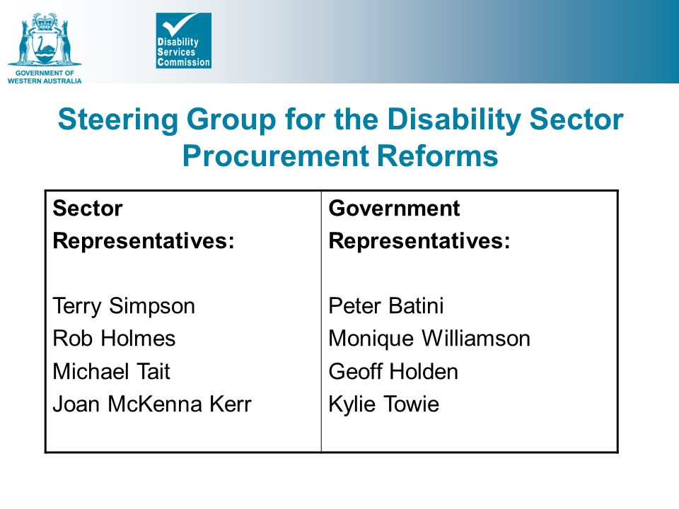 Steering Group for the Disability Sector Procurement Reforms