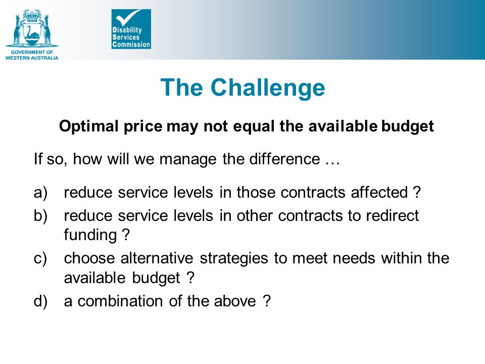 Optimal price may not equal the available budget