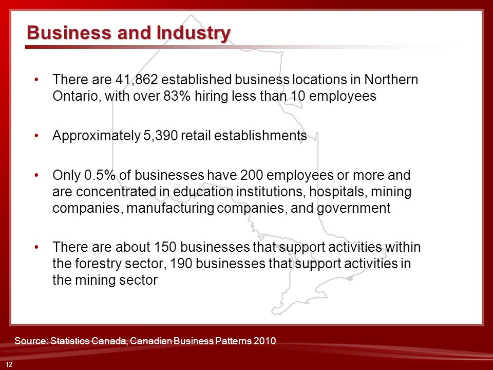Business and IndustryThere are 41,862 established business locations in Northern Ontario, with over 83% hiring less than 10 employees.