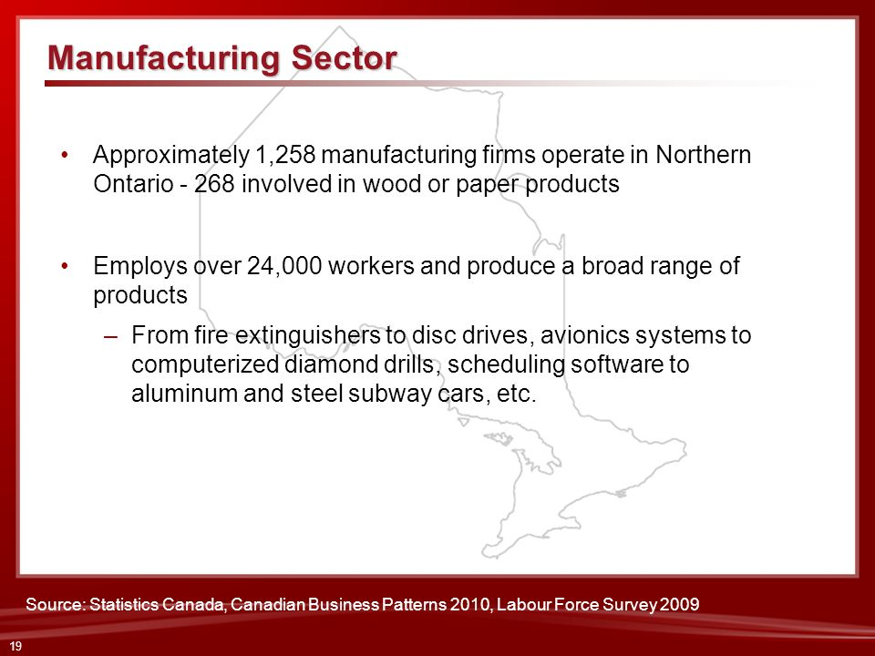 Manufacturing Sector Approximately 1,258 manufacturing firms operate in Northern Ontario - 268 involved in wood or paper products.
