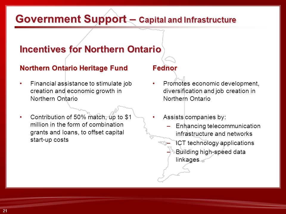 Incentives for Northern Ontario