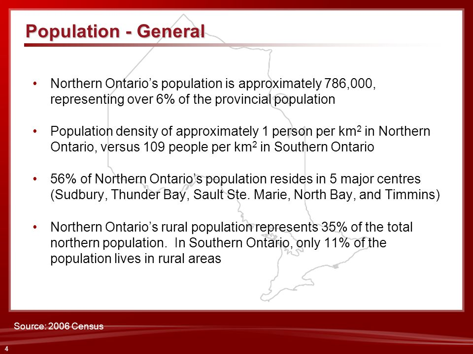 Population - GeneralNorthern Ontario's population is approximately 786,000, representing over 6% of the provincial population.