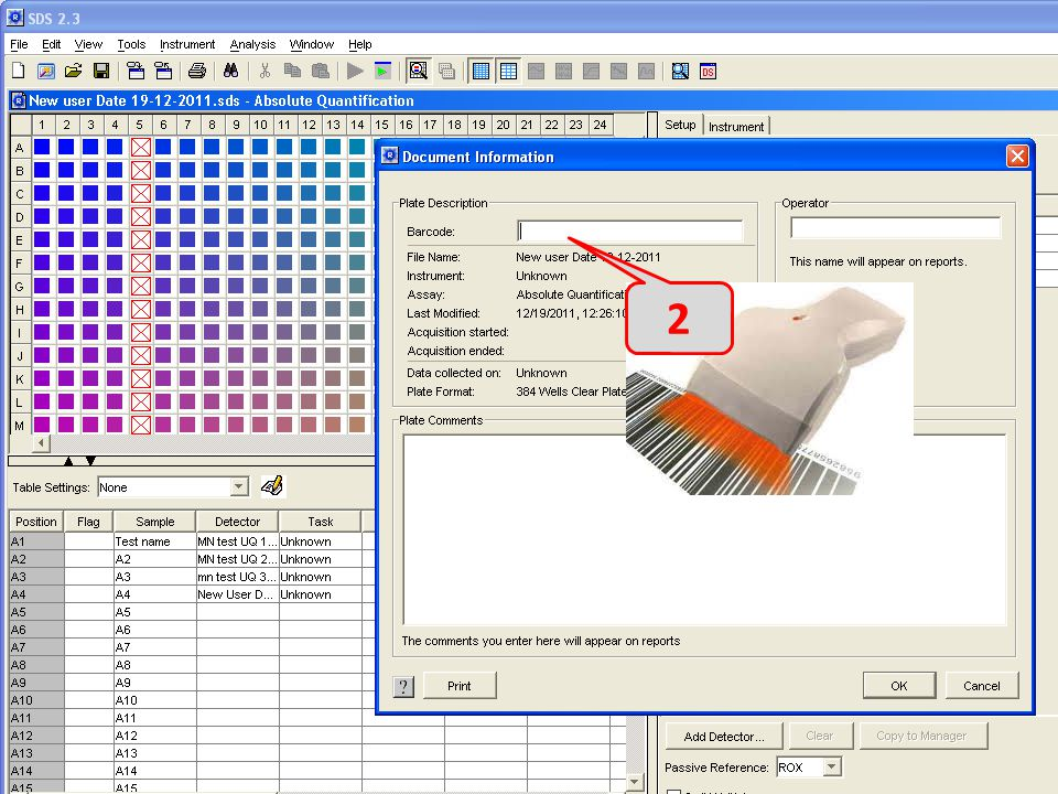 2 Click inside barcode window and read the barcode using scanner – 2