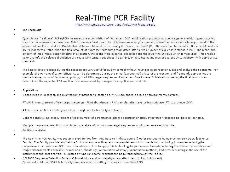 Real-Time PCR Facility http://www. scmb. uq. edu. au/intranet/index