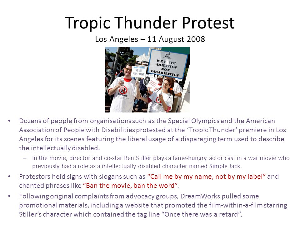 Tropic Thunder Protest Los Angeles – 11 August 2008