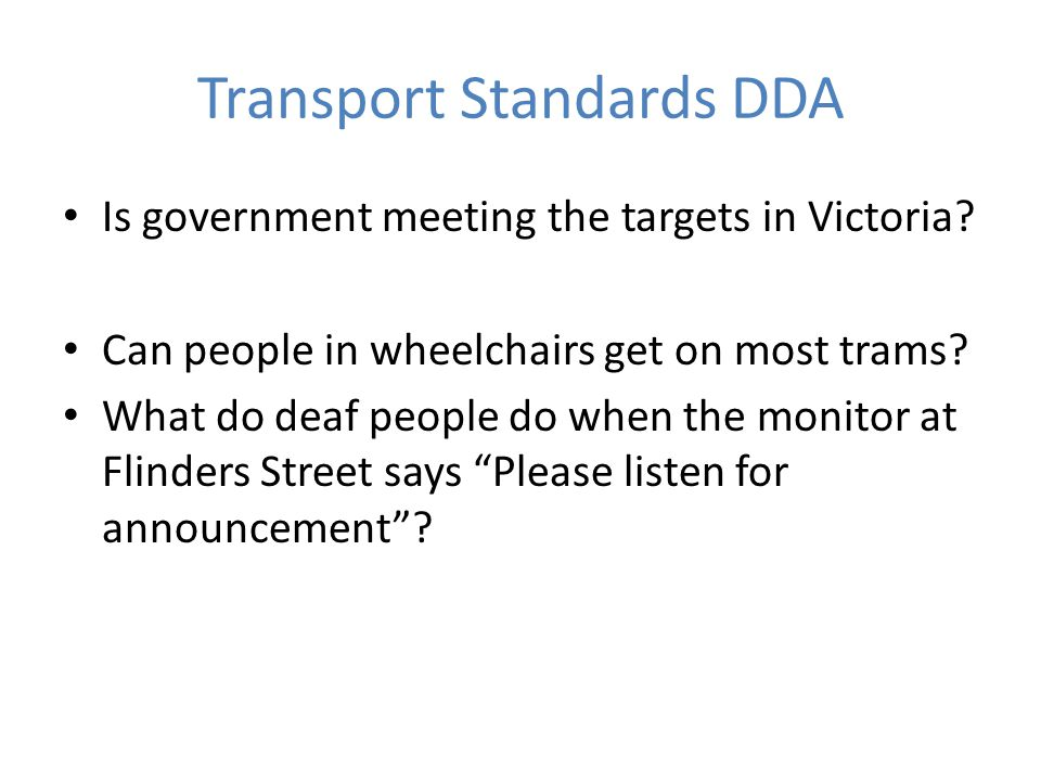 Transport Standards DDA