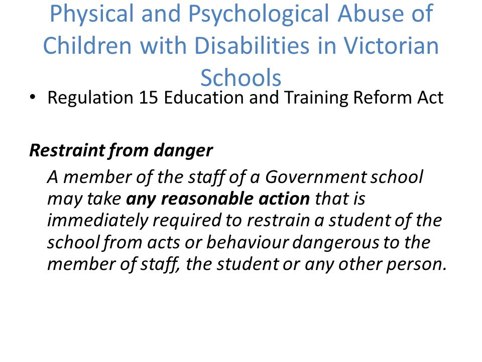 Physical and Psychological Abuse of Children with Disabilities in Victorian Schools