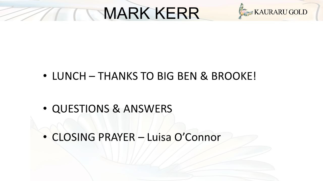 MARK KERR LUNCH – THANKS TO BIG BEN & BROOKE! QUESTIONS & ANSWERS