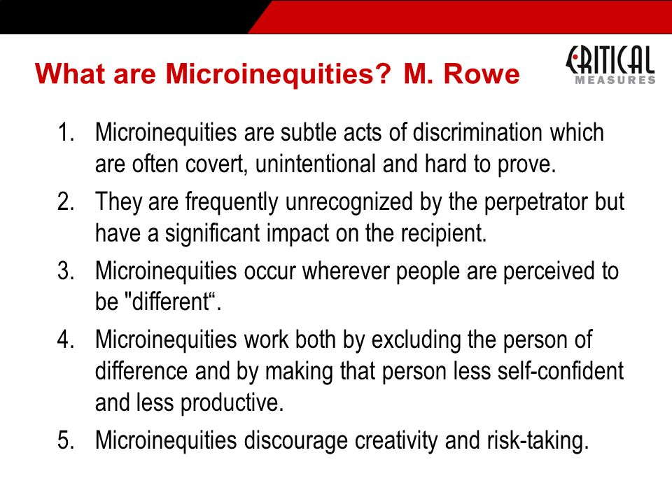 What are Microinequities M. Rowe