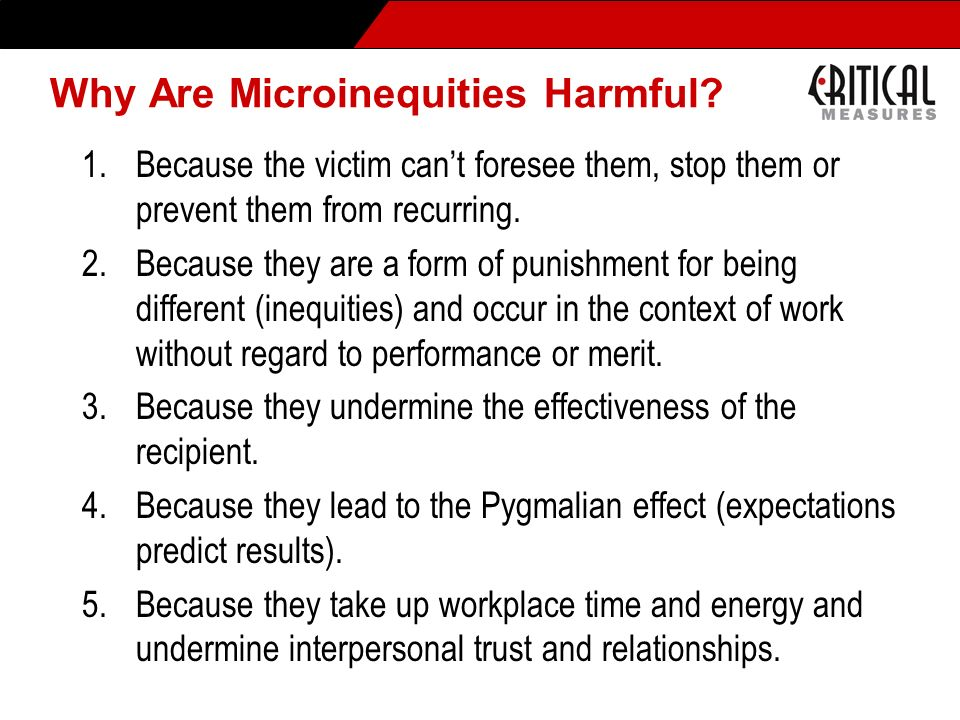 Why Are Microinequities Harmful