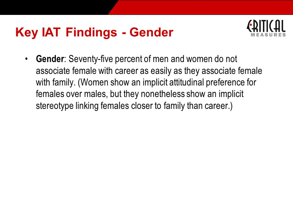 Key IAT Findings - Gender
