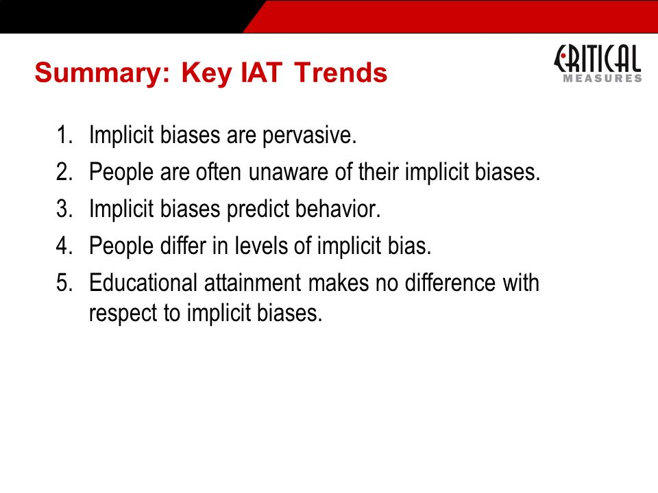 Summary: Key IAT Trends