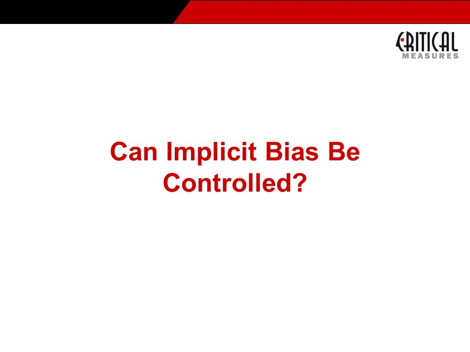 Can Implicit Bias Be Controlled