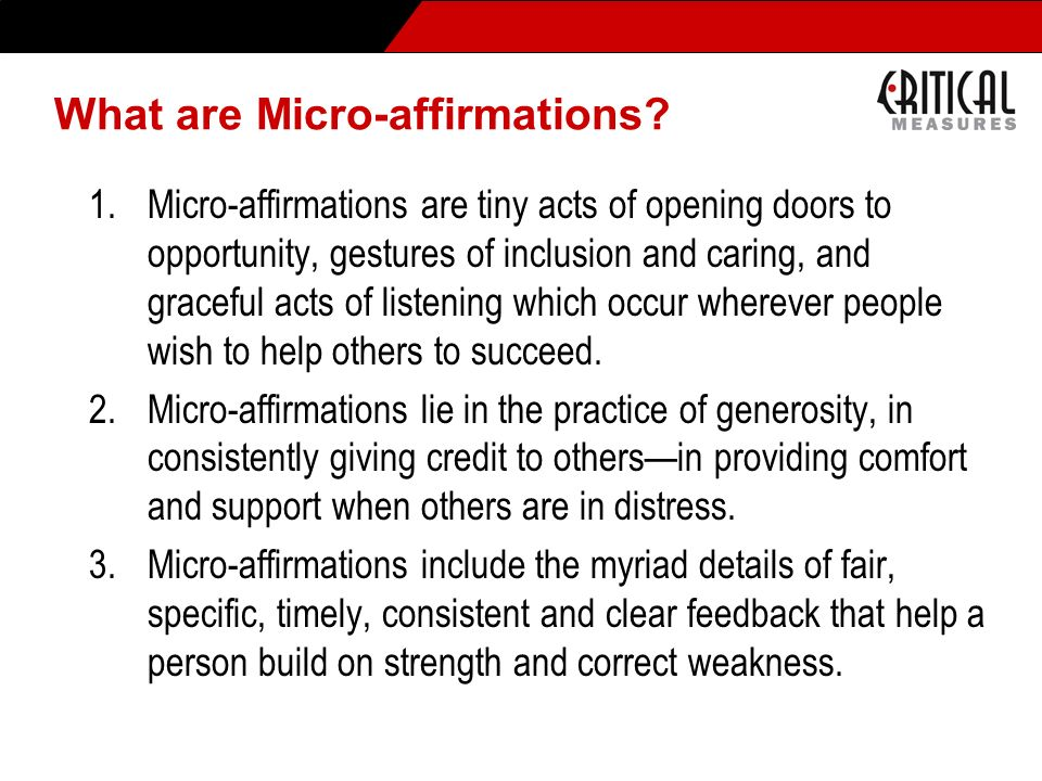 What are Micro-affirmations