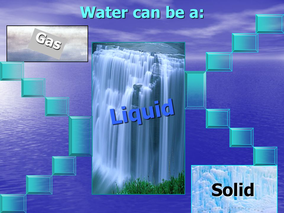 Water can be a: Gas Liquid Solid