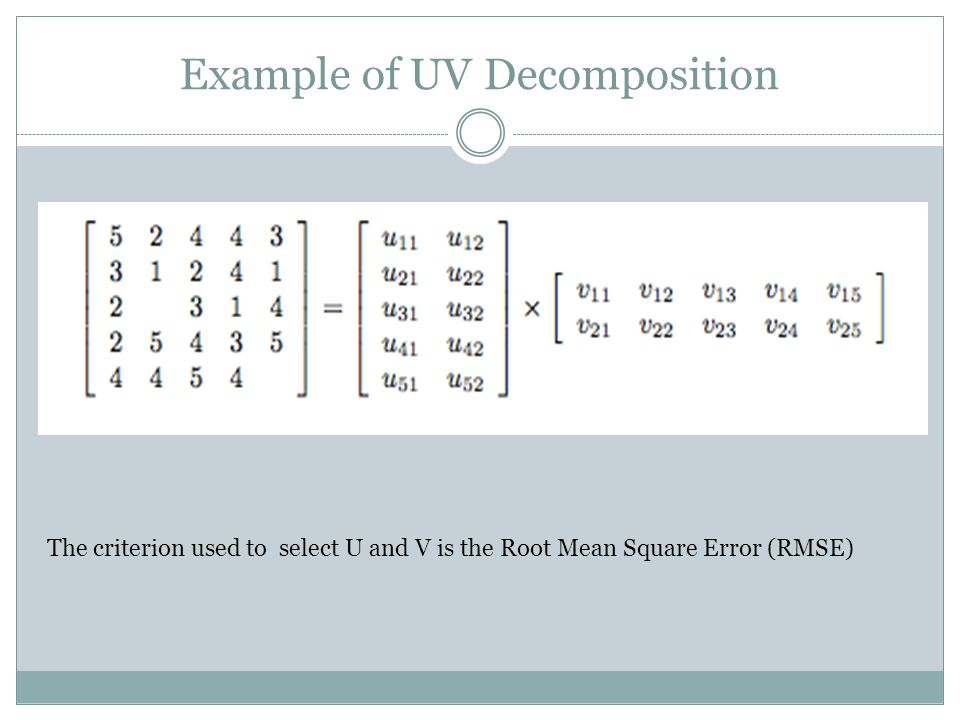 Example of UV Decomposition