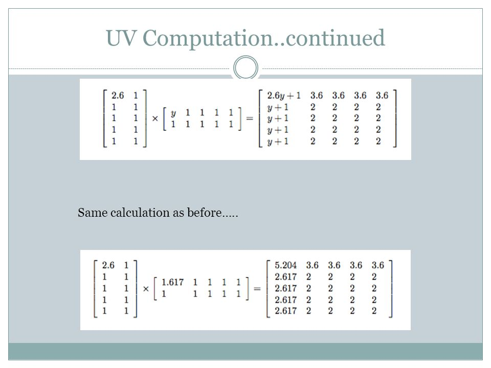 UV Computation..continued