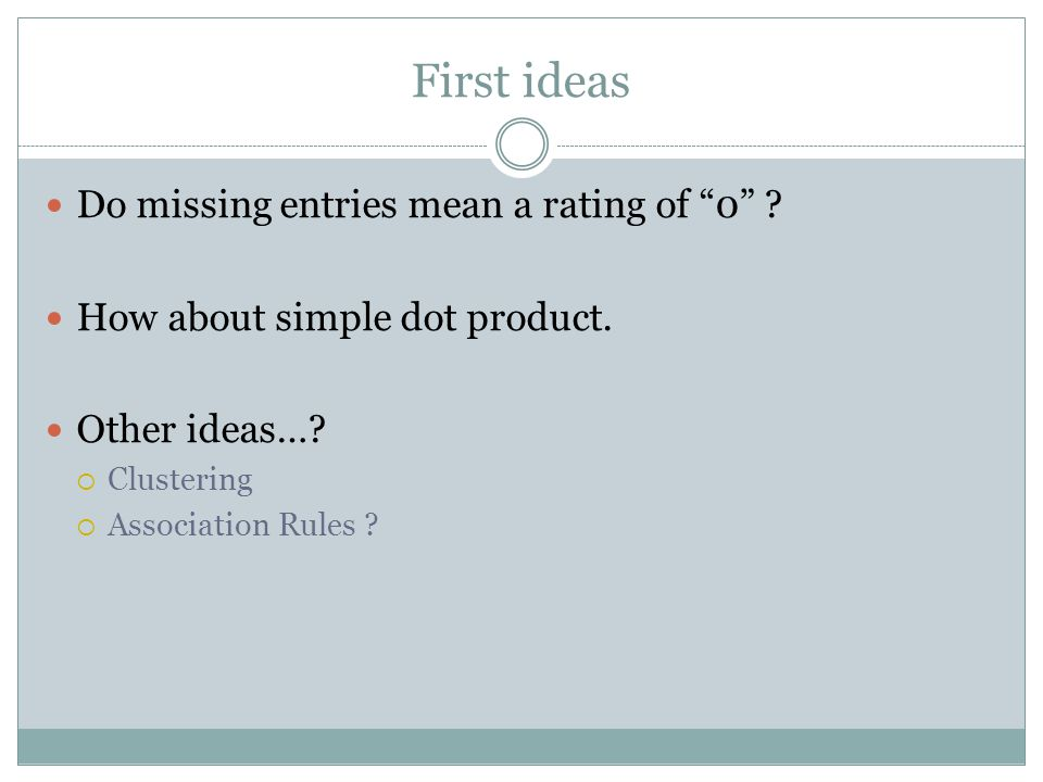First ideas Do missing entries mean a rating of 0
