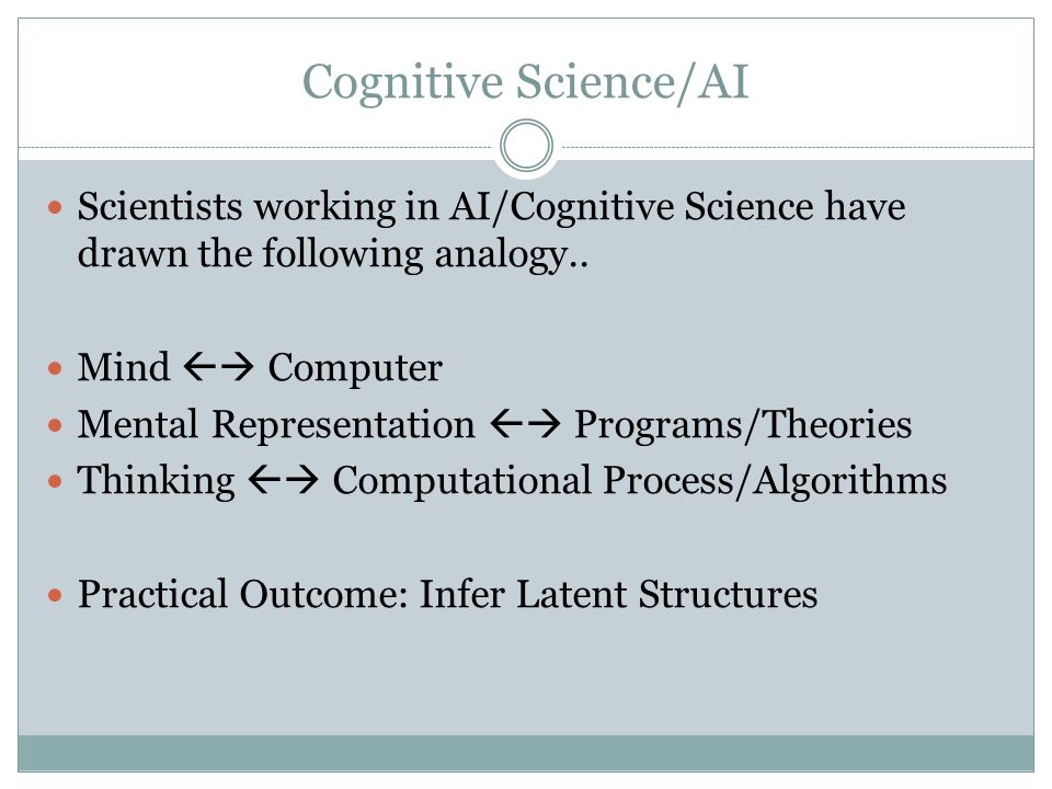 Cognitive Science/AI Scientists working in AI/Cognitive Science have drawn the following analogy.. Mind  Computer.