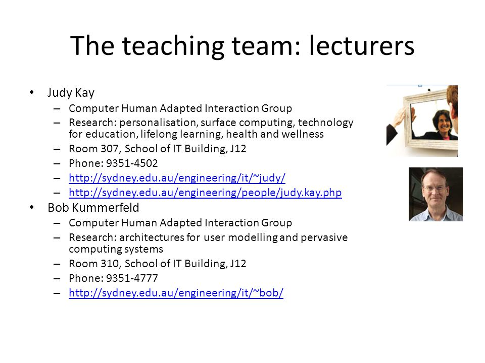The teaching team: lecturers